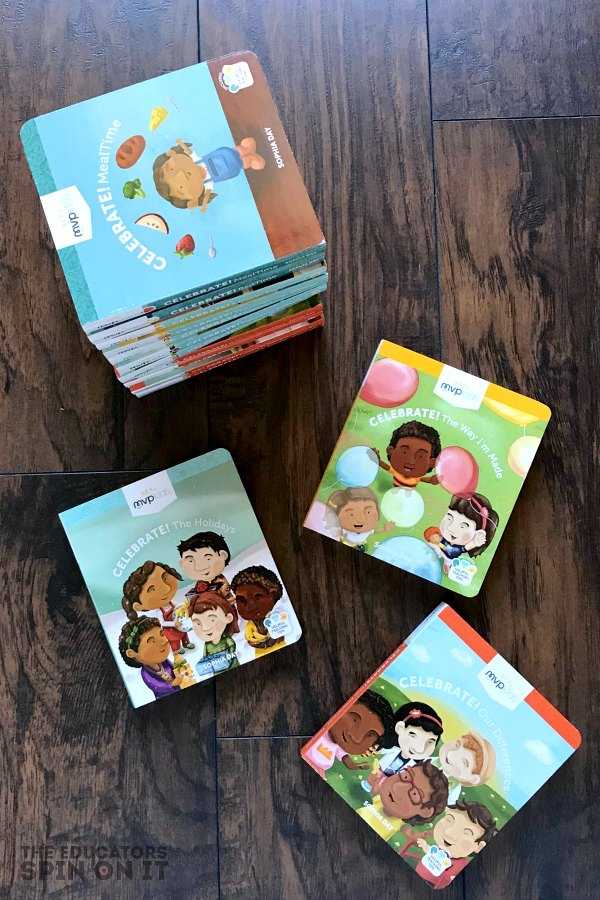 MVP Kids Board Books for Toddlers stacked on wooden floor