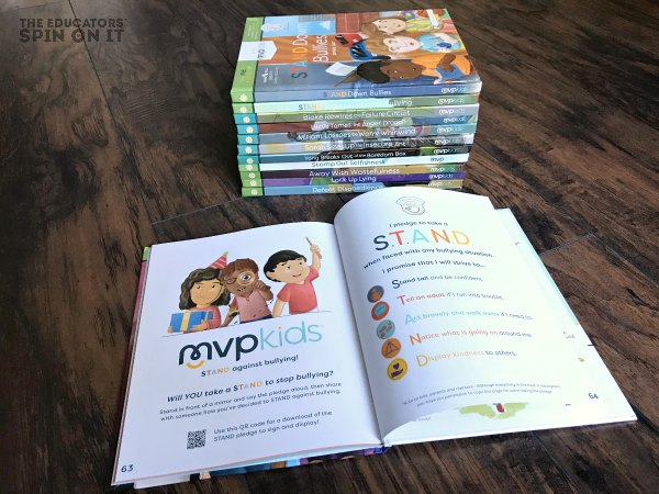 MVPKids Short Stories on Building Character with Book Open to Pledge to Stand Up to Bullies