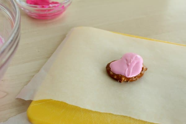 Melted Candy Heart Shaped Pretzel for Valentine's Day Treat
