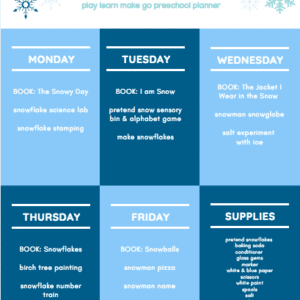 Snow Week Preschool Planner Preview