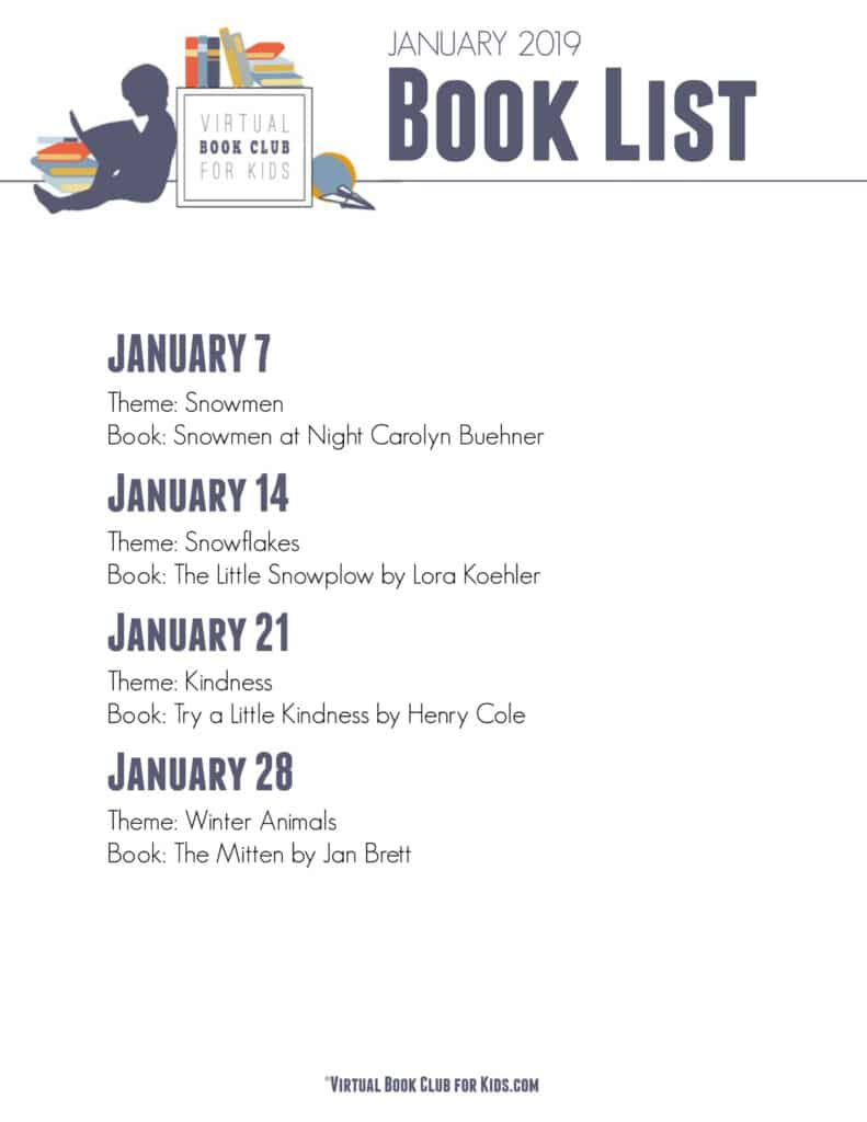 January Book List for Virtual Book Club for Kids with Theme Ideas