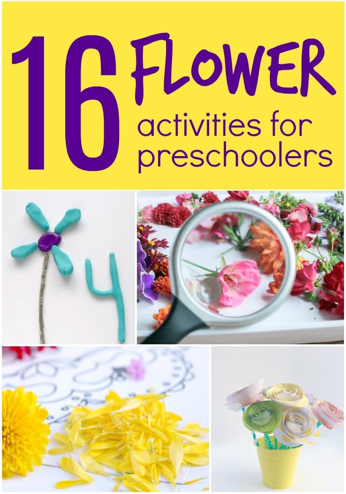 Flower Themed activities for preschoolers with playdough, paint, flowers and more.