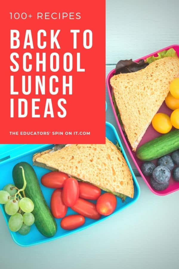 Back to school lunch ideas for kids with fruits and veggies and sandwiches in lunchbox