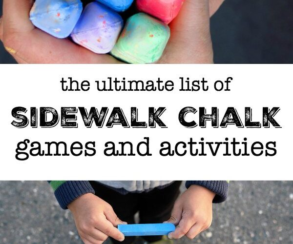 Child holding sidewalk chalk to play learning activities