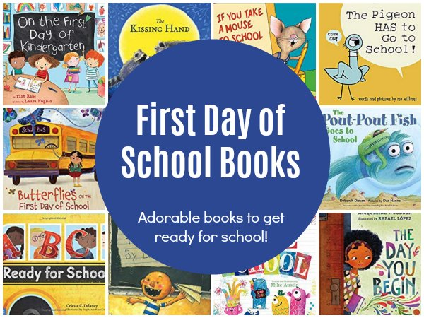 Feature of first day of school books for kids to get them ready for starting school.