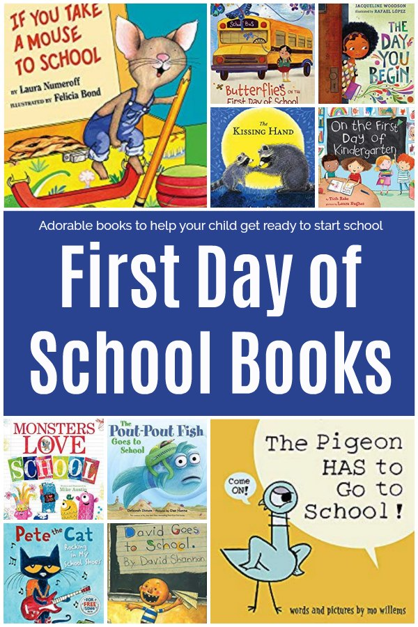 Featured selected of books for the topic of the first day of school for kids.