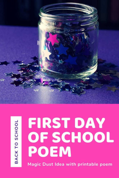 First Day of School Magic Dust with jar full of star sequins and glitter