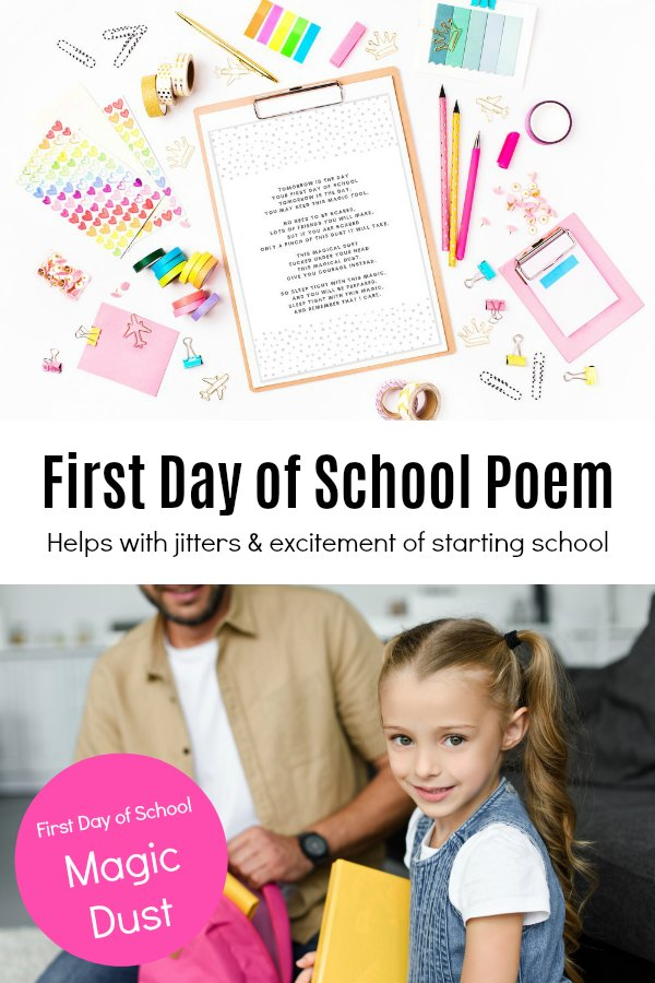 Kindergartner getting ready for the first day of school with printable Magic Dust Poem