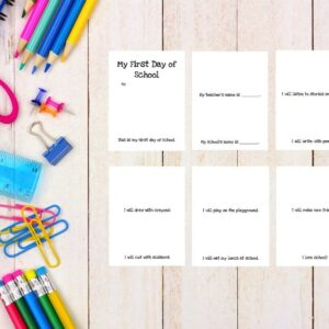 School supplies side border on a white wood background with printable first day of school book