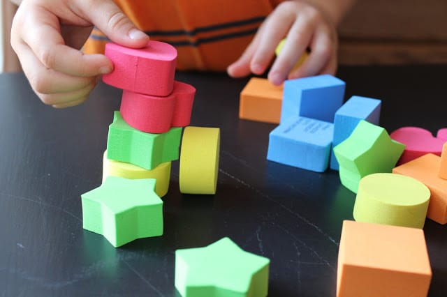Math activity with foam shapes for preschoolers