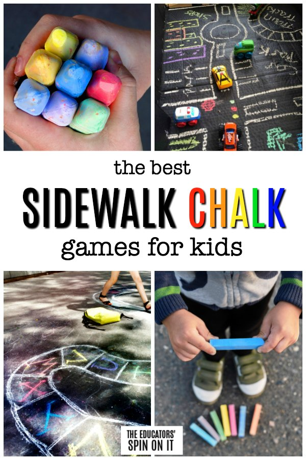Children holding sidewalk chalk to play learning activities