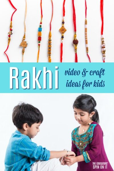 exploring rakhi with videos and crafts for kids, sister demonstrating tying bracelet on brother.