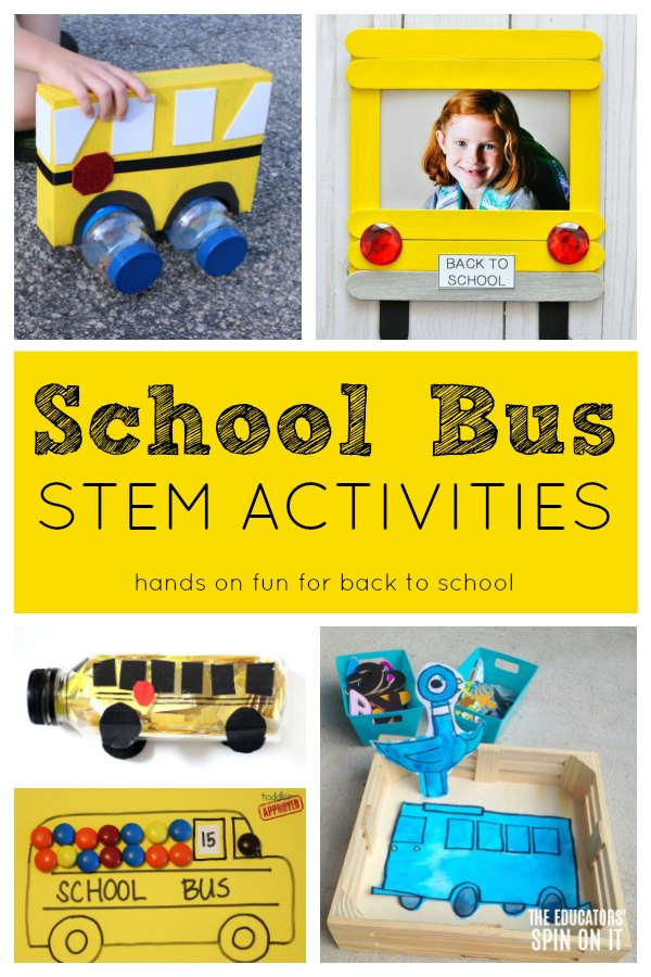 Activities that feature bus themed STEM Ideas for kids for back to school