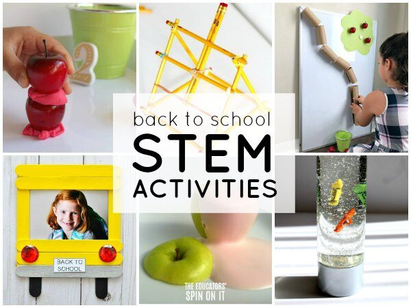 back to school stem activities featuring apples, pencils, crayons and buses for kids to challenge kids
