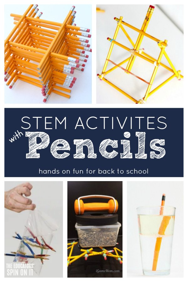 Building with pencils for STEM Activities for Kids