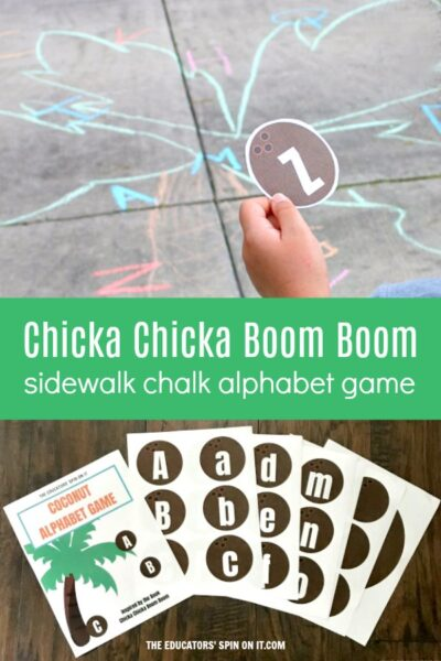 Sidewalk Chalk drawing of coconut tree with letters on it inspired by the book Chicka chicka Boom Boom