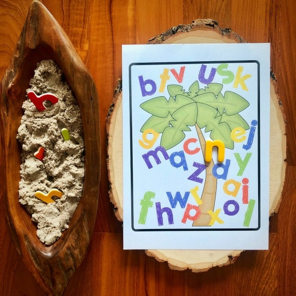 Printable with Coconut Tree and letters for child to place letters onto from bowl of letters