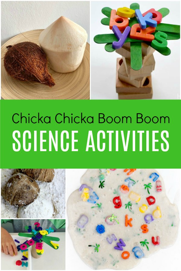variety of science activities with coconuts, alphabet slime and pretend trees