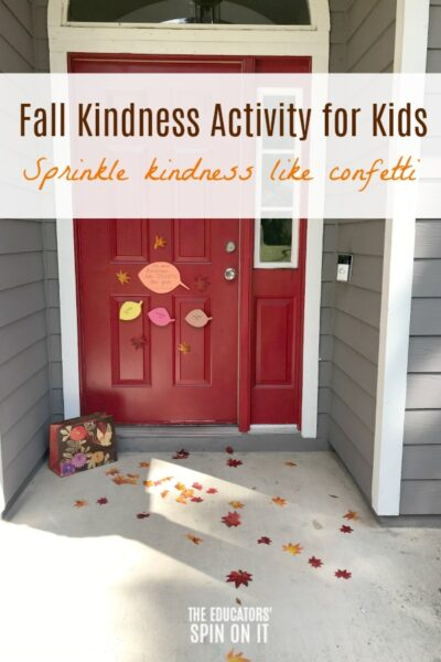 Front door covered with leaves for random act of kindness in fall
