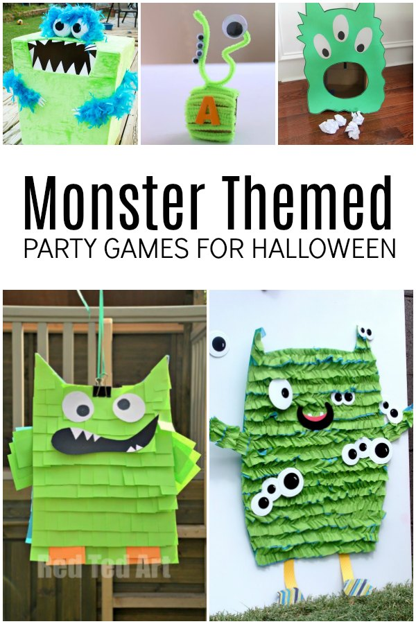 Monster Themed Party Games and Pinata for Halloween Fun with Kids.