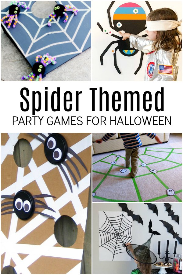 Collection of Spider Themed Party Games for Halloween with Kids with spider webs and spiders for kids to use to play games.