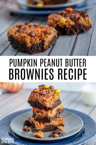 Pumpkin Peanut Butter Brownies with Candy Topping of Orange, Yellow and Brown.