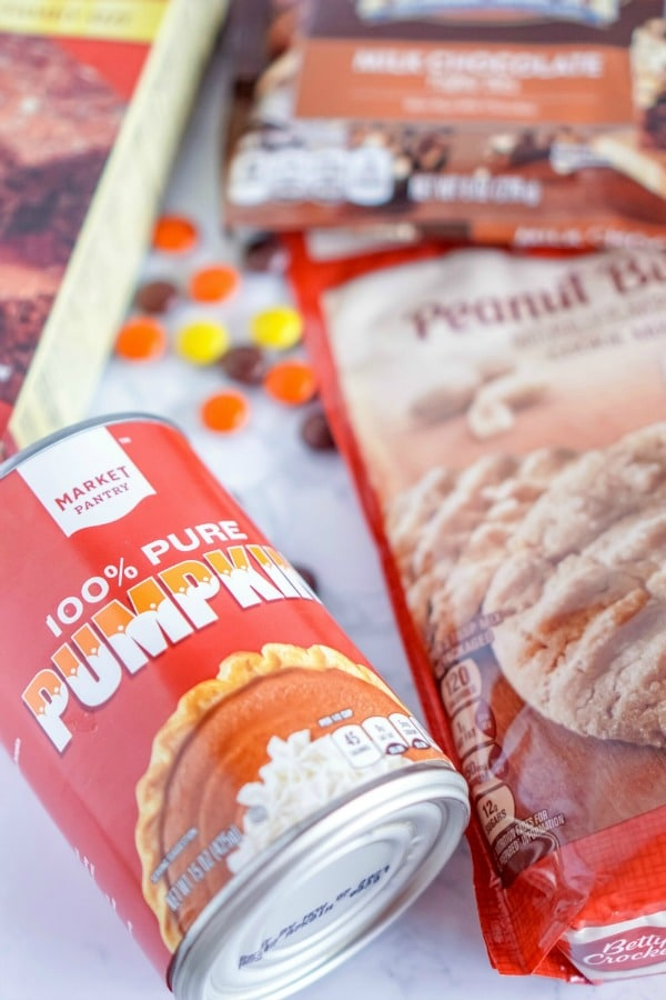 Ingredients for making Pumpkin Peanut Butter Brownies