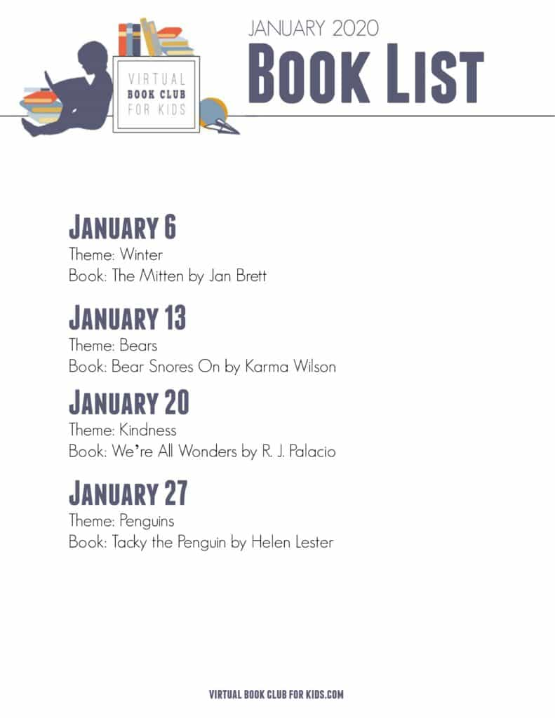 List of books featured for January with the Virtual Book Club for Kids