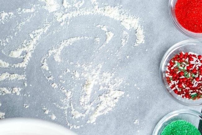 Christmas roll sugar cookies with sprinkles