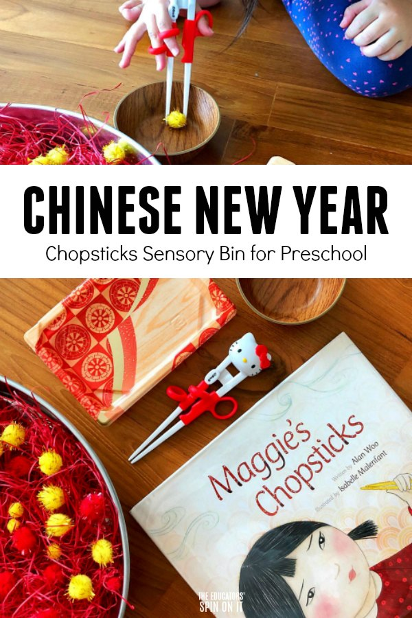 Child with chopsticks and pompom for Chinese New Year Activity