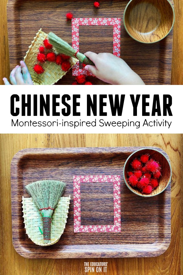 Chinese New Year Montessori Sweeping Activity for Preschoolers