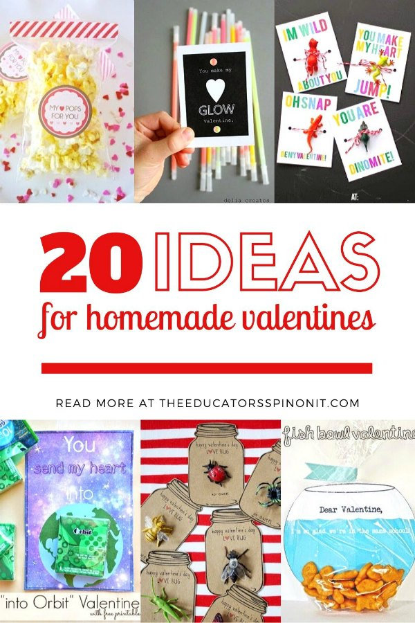 20 Ideas for homemade valentines for classmates at school.
