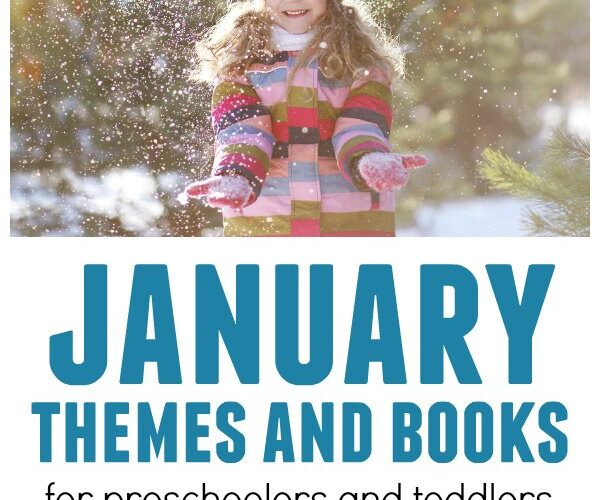 Child playing with snow featuring January themes and books suggestions for kids