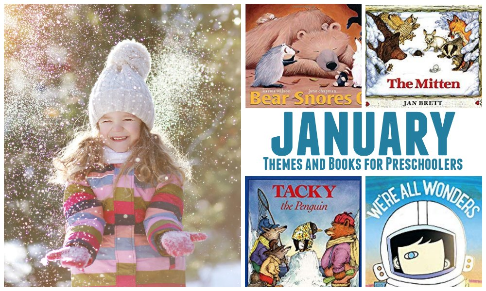 Child throwing snow to feature January themes and books for preschoolers and toddlers