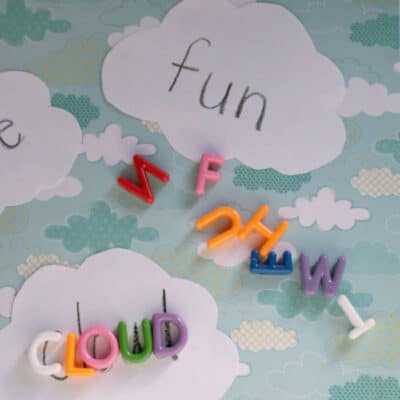 Cloud Themed Spelling Word Game with ABC Beads