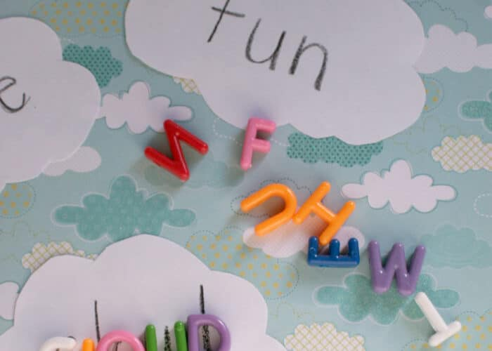 ABC Beads on cloud cutouts to create sight word game for kids.