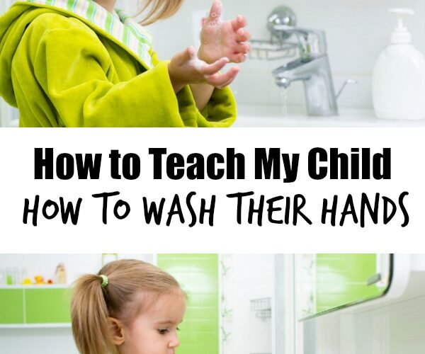 Young child learning how to wash hands using liquid soap at white sink