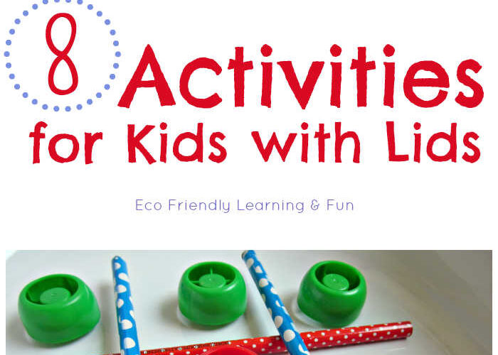 Various colors of lids to create fun and easy games with lids for kids