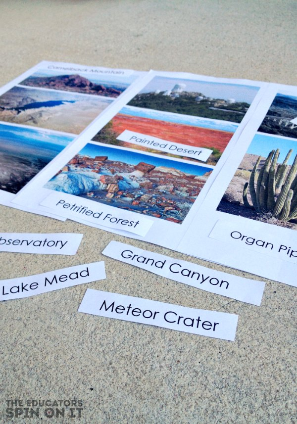 Images of landmarks in Arizona for Kid Activity