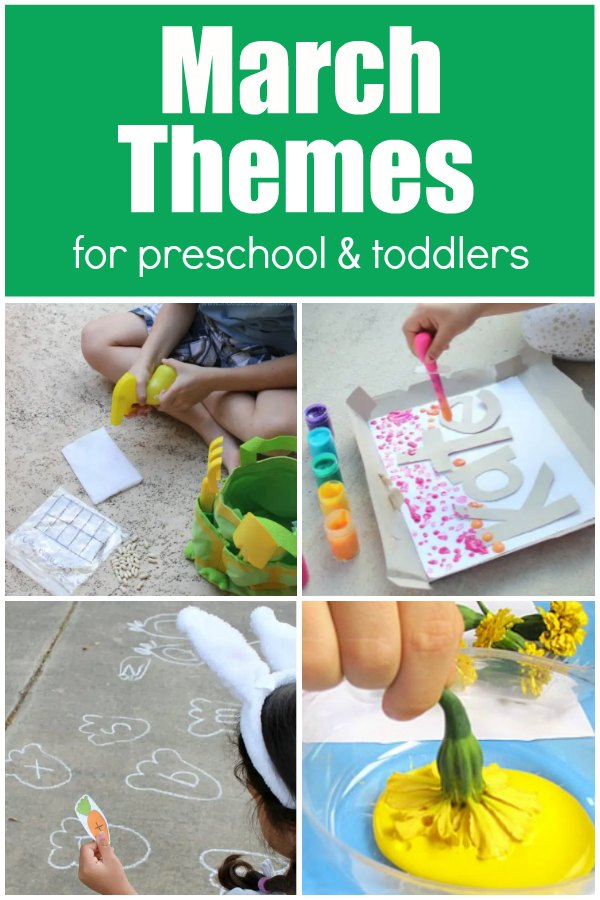 A collection of march activities for preschoolers and toddlers with gardening, rainbows, bunnies and flowers with kids.