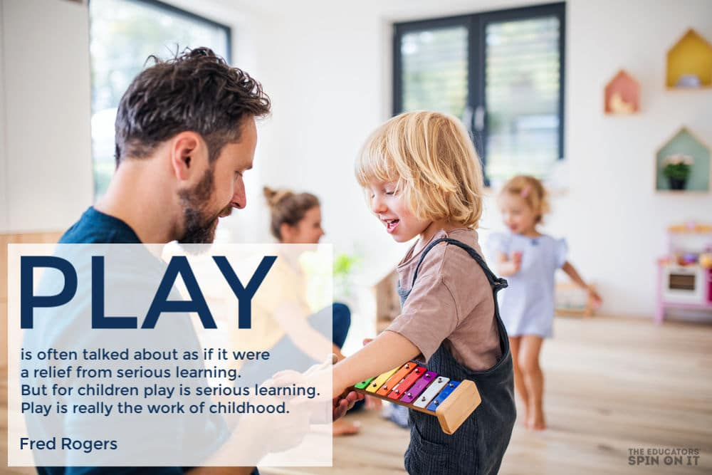 Fred Rogers quote about play with family playing in background