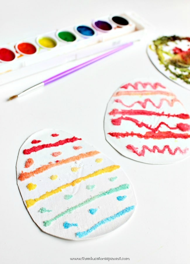 Salt Painting Patterned Eggs - Process Art for Kids to explore colors and patterns, an Easter Math Learning Station.