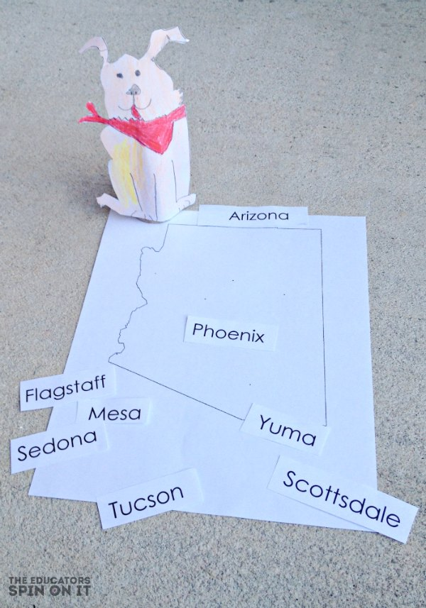 state map of Arizona with movable city names for kids activity