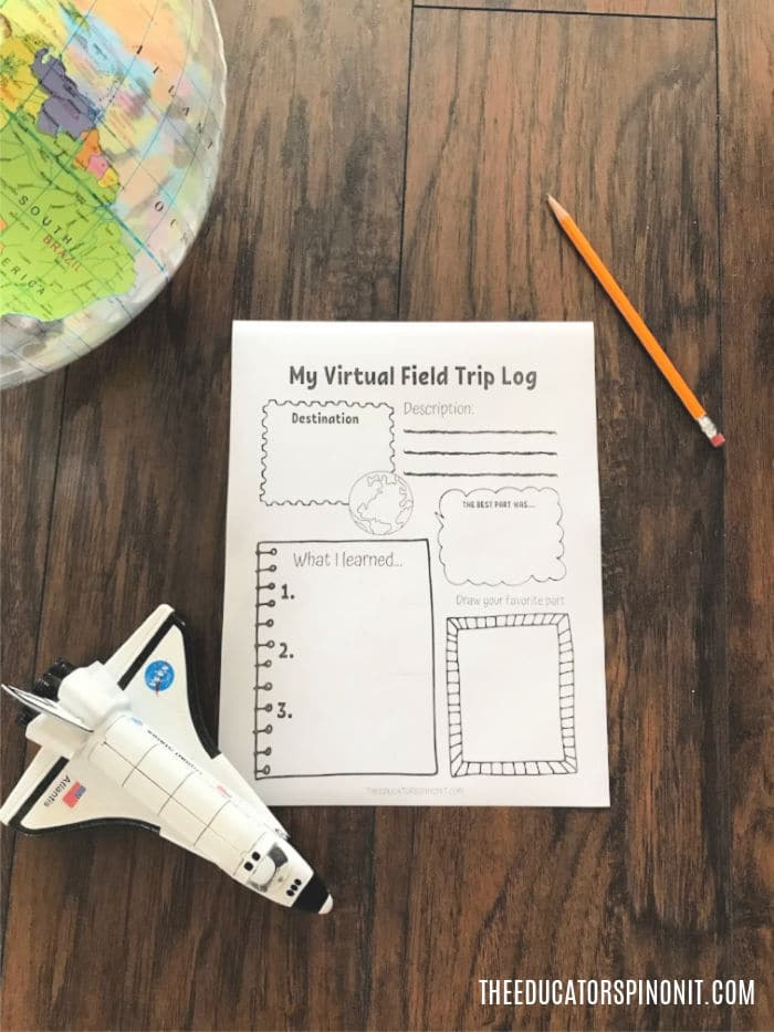 Virtual Field Trip Log for Kids Printable on wooden floor with pencil, toy spaceship and globe.