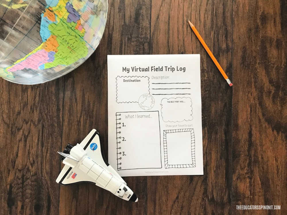 Virtual Field Trip Log Printable on wood floor with pencil, space shuttle and globe