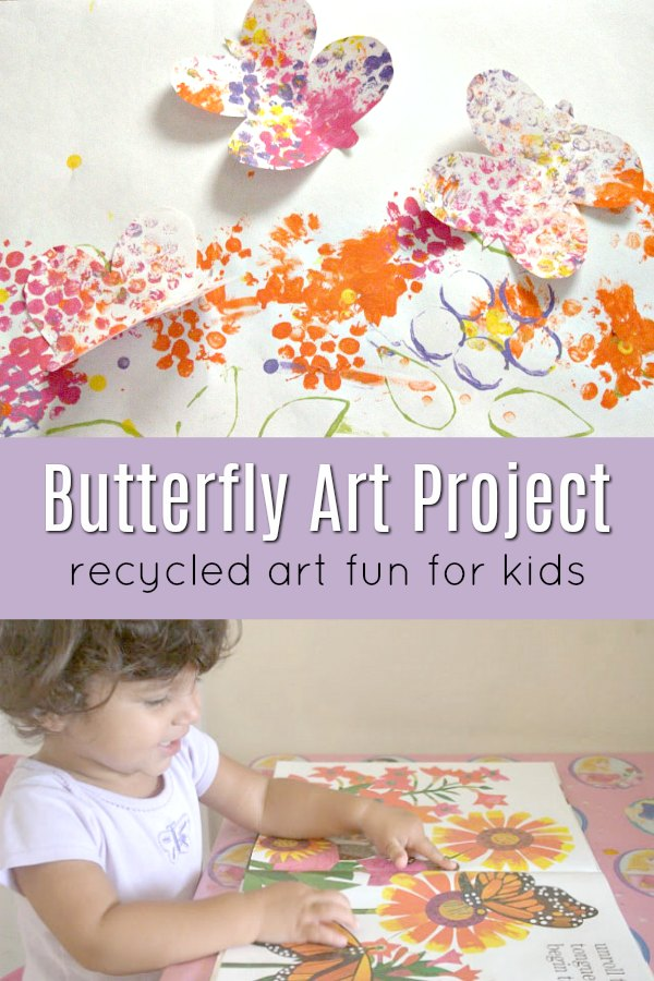 Young child creating butterfly art project inspired by book Waiting for Wings by Lois Ehlert