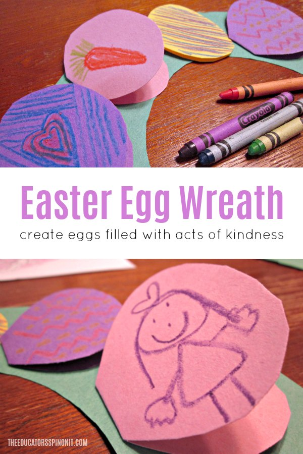 Easter egg wreath made with eggs that open to share ideas for acts of Kindness