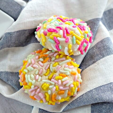 Cream Cheese Sprinkle Cookies on cloth