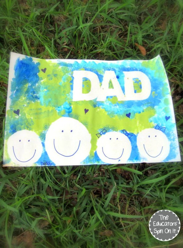 DAD paint resist with father and children outline for fathers day craft
