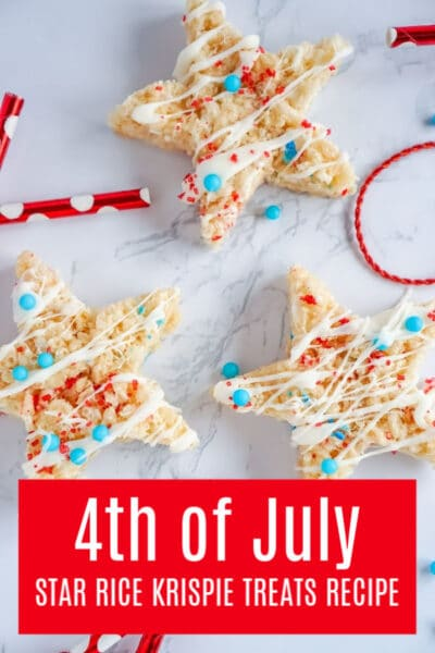 Red, White and Blue Sprinkles on Star Rice Krispie Treat for 4th of July Dessert